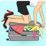 Pop-Arten-Hintergrund Tema-Reise und weibliche Versammlung Sachen, die nicht in den Koffer passen raster stock abbildung