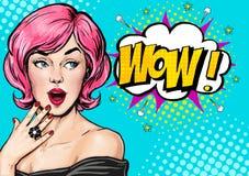 Pop-Arten-Illustration, überraschtes Mädchen Komische Frau wow Bekanntmachen des Plakats Pop-Arten-Mädchen Abbildung des Vektor e