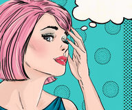 Pop-Arten-Illustration der überraschten Frau mit der Spracheblase Pop-Arten-Mädchen Comic-Buch-Illustration Knall Art Woman Lizenzfreie Stockfotos