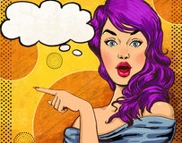 Pop-Arten-Illustration des Mädchens mit der Spracheblase Pop-Arten-Mädchen Vektor Victorianillustration Abbildung des Vektor eps1 Stockfoto
