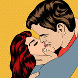 Pop-Arten-küssende Paare Stockbild