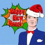 Pop-Arten-Mann Glückliches neues Jahr Lizenzfreies Stockfoto