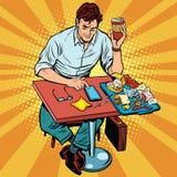Pop-Arten-Mann isst das Mittagessen an einem Schnellrestaurant vektor abbildung
