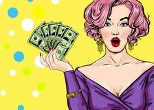 Pop-Arten-Mädchen mit dem Geld Pop-Arten-Mädchen Abbildung des Vektor eps10 Hollywood-Filmstar Weinlesewerbungsplakat Art und Wei Lizenzfreie Stockfotos