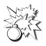 Pop-Arten-Schwarzweiss-Detonation einer Bombe mit Funken und Blitzen von den Explosionen Karikaturcomic-buch-Illustration stock abbildung