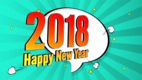 Pop-Arten-Spritzenhintergrund des neuen Jahres, Explosion in den Comics buchen Art 2018-Feiertags-Werbungsschild mit Halbton stock abbildung