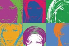 Pop-artillustratie Maniermeisjes in de pop-artstijl Royalty-vrije Stock Afbeeldingen