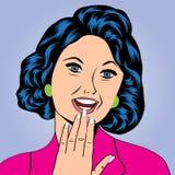 Pop-artillustratie van een lachende vrouw Stock Fotografie