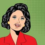 Pop-artillustratie van een lachende vrouw Stock Afbeeldingen