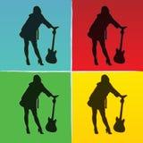 Pop-artillustratie van meisje met gitaar Stock Afbeeldingen