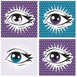 Pop-artillustratie van menselijke oog en zwepen op puntachtergrond Stock Afbeeldingen