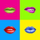 Pop-artlippen Lippenachtergrond Lippenstiftreclame Smileylippen Stock Fotografie