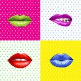 Pop-artlippen Lippenachtergrond Lippenstiftreclame Smileylippen Stock Afbeeldingen