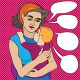 Pop-artmamma en baby Stock Fotografie