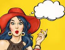 Pop-artmeisje met gedachte bel Het uitstekende etiket van de theetijd De kaart van de verjaardag Hollywood, filmster Grappige vro