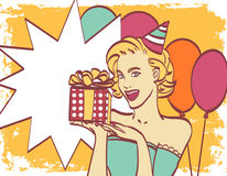 Pop-artmeisje met gedachte bel Het uitstekende etiket van de theetijd De kaart van de verjaardag Hollywood, filmster Grappige vro stock illustratie