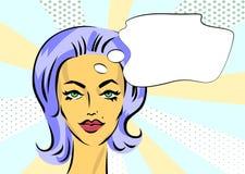 Pop-artmeisje met toespraakbel Vectorbannermalplaatje Royalty-vrije Stock Fotografie