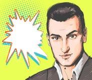 Pop-artmens Jong knap mensenportret Vectorillustratie in retro grappige stijl Vectorpop-artachtergrond vector illustratie