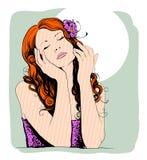 Pop-artportret van een dromende mooie vrouw Stock Foto's