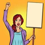 Pop-artvrouw die met een affiche protesteren Politieke activist bij Th royalty-vrije illustratie