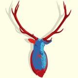 Pop-atr monterat hjorthuvud Välfyllda fullvuxen hankronhjorthorn på kronhjort Jaktantikvitettrofé Arkivbild