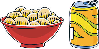 Pop and Chips. Cartoon can of soda pop and a bag of salty potato chips royalty free illustration