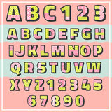 Pop color pattern font with number Stock Photography