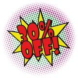 30% OFF comic explosion retro design deal tag. POP comic explosion with dots on white Stock Image