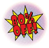 80% OFF comic explosion retro design deal tag. POP comic explosion with dots on white Royalty Free Stock Images