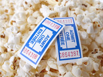 Pop Corn. With tickets isolated on white background Royalty Free Stock Photos