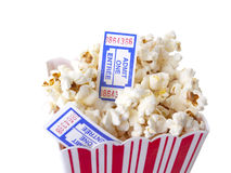 Pop Corn. With tickets isolated on white background Stock Photography