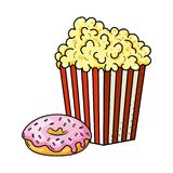 Pop Corn And Donut Vector Illustration Royalty Free Stock Photography