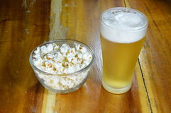 Pop corn and beer Stock Photos