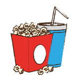 Pop corn box. And soda drink icon over white background. colorful design.  illustration Stock Images