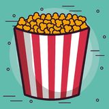 Pop corn bucket icon. Over turquoise background colorful design vector illustration Royalty Free Stock Photography