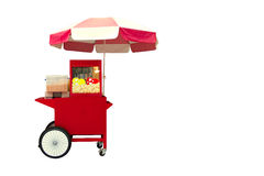 Pop corn cart. Red pop corn cart isolate on white background royalty free stock images
