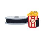 Pop corn cinema movie design. Pop corn film reel cinema movie entertainment show icon. Flat and Isolated design. Vector illustration Royalty Free Stock Images