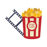 Pop corn cinema movie design. Pop corn film strip cinema movie entertainment show icon. Flat and Isolated design. Vector illustration Stock Images