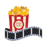 Pop corn cinema movie design. Pop corn film strip cinema movie entertainment show icon. Flat and Isolated design. Vector illustration Stock Photos