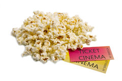 Pop corn and cinema tickets Royalty Free Stock Photography