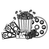 Pop corn, clipart movie and money icon. Illustraction design Stock Photo