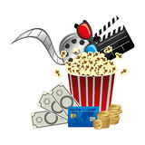 Pop corn, clipart movie and money icon. Illustraction design Stock Image