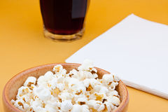 Pop corn and cola Stock Photos