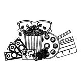 Pop corn, 3d glasses, clapper board and money. Illustraction Royalty Free Stock Photo