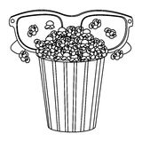 Pop corn with 3d glasses icon. Illustraction design Stock Photo
