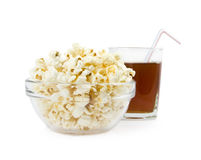 Pop-corn in a dish on a background  drink Royalty Free Stock Image