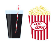 Pop corn with drink Royalty Free Stock Images