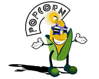 Pop corn. Facetious vector illustration of popcorn character Stock Photo