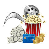 Pop corn, film production and clipart money. Illustraction Stock Image