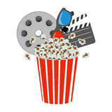 Pop corn, film production, film board and 3d glasses. Illustraction Stock Image